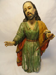 Antique Jesus Hand Carved Wood Polychrome Glass Eyes Religious Ze4-10