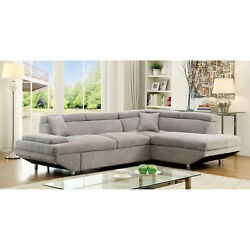 Living Room Furniture Grey Color Cushion Plush Seat Sectional Sofa Chaise Fabric