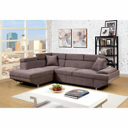 Living Room Furniture Brown Colorcushion Plush Seat Sectional Sofa Chaise Fabric