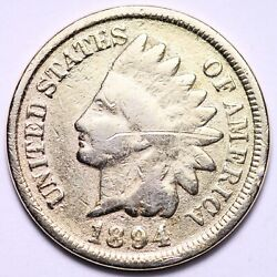 1894/94 Indian Head Cent Penny Vg Details Plated Free Shipping E716