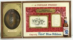 Vintage 34x18 Pabst Blue Ribbon Footballand039s Old-time Greats Beer Sign Bar 3d Ad