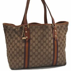 Auth GUCCI Sherry Line Shoulder Tote Bag Canvas Leather Brown Beige Purple C2299 $152.00