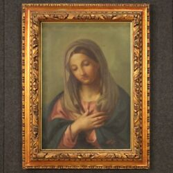 Virgin Painting Oil On Canvas Religious Framework Signed Dated Antique Style