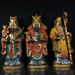 13'' Bronze Colored Drawing God Of Three Lucky Men Longevity Fortune Happiness
