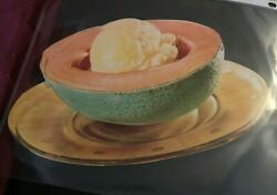 1930 Woolworth Glossy Advertising Die Cut Canteloupe And Scoop Vanilla Ice Cream