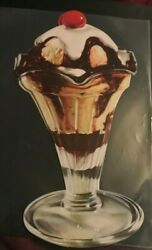 1930 Woolworth Glossy Advertising Die Cut Chocolate Vanilla Float With Cherry
