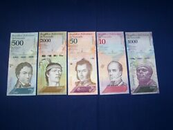 Lot Of 25 Bank Notes From Venezuela 5 Types Ubcirculated L3
