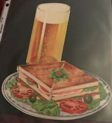 1930 Woolworth Glossy Advertising Die Cut Ham And Cheese Sandwich With Cold Beer