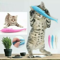 Cat Silicone Toothbrush Catnip Interactive Chew Toy Dental Clean Dolphin 2pk