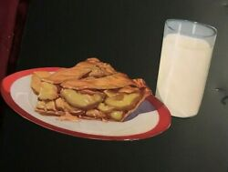 1930 Woolworth Glossy Advertising Die Cut Apple Pie And A Glass Of Milk