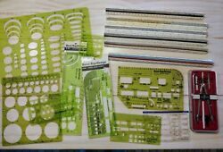 Large Lot Architect / Engineer Drafting Tools Scale Rulers, Compass, Templates