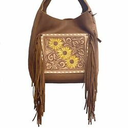 American Darling Brown Leather Sunflower With Fringe Purse Adbg622a