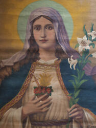 Immaculate Heart Of Mary Virgin Mary Has Lily Tapestry 26.7 × 33.4 Tapestry