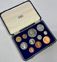 South Africa 1954 11 Coin Proof Set With Gold - Original Box - Sa28