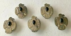 Set Of 5 Native American Onyx Thunderbird Signed Rs Button Covers Vintage