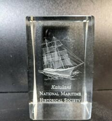 Kaiulani Ship National Maritime Historical Society Etched Glass Paperweight Vtg