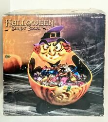 Vintage Ceramic Halloween Candy Dish Bowl Witch Large 12 X 13 X 10