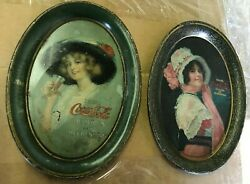 Pair Of Early Coca Cola Tip Trays 1913 And 1914 Both For One Money