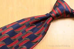 Recent Lanvin Ribbon Print Red Blue Foulard Silk Tie Made In France Eh02