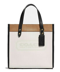 ❤️ Coach Field Chalk/brass In Colorblock Leather With Coach Badge