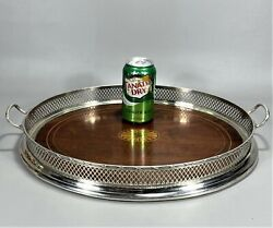 18 Udoll And Ballou N.y. Sterling Silver And Inlaid Mahogany Gallery Tray W Handles
