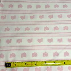 Vintage Fabric Bunny Rabbits Blue Beige Background 1.2 Yards X 45quot; Cotton Blend