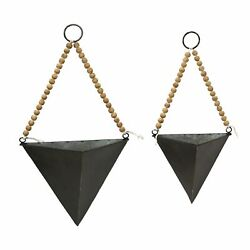 Set of 2 Triangle Metal and Wood Wall Planters