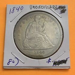 1840 Type 3 No Motto Liberty Seated Silver Dollar. Scarce. Low Mintage. Au++