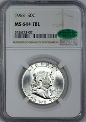 1963 Franklin Silver Half Dollar Ngc Ms64+ Fbl - Cac Approved Great Eye Appeal