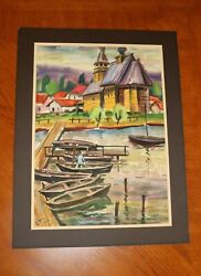 Vintage Evgeni Pogoreny Water Color Painting - Church - Signed Stamped - Read