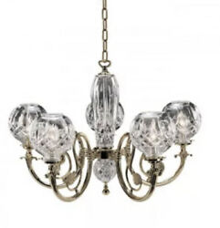 Waterford Lismore Five Arm Polished Brass Finished Chandelier