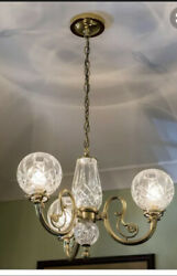 Waterford Lismore Three Arm Polished Brass Finished Chandelier