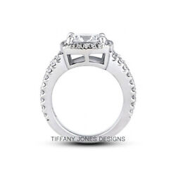 1 3/4ct H Vs2 Radiant Natural Certified Diamonds 14k Gold Halo Side-stone Ring