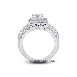 1 3/4ct H Vs2 Radiant Natural Certified Diamonds 18k Gold Halo Side-stone Ring