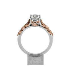 1/2ct D Vs1 Round Natural Certified Diamonds 14k Vintage Style Side-stone Ring