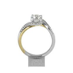 3/4 Ct F Vs2 Round Brilliant Natural Certified Diamonds 14k Gold Sidestone Ring