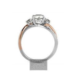 1.41 Ct D-si1 Round Cut Natural Certified Diamonds 14k Gold Sidestone Ring