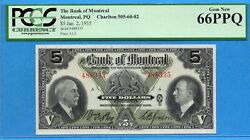5 1935 Bank Of Montreal Canada Chartered Note - Pcgs Gem Unc-66 Ppq
