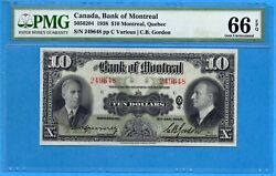 10 1938 Bank Of Montreal Canada Chartered Note - Pmg Gem Unc-66 Epq