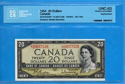 20 1954 Bank Of Canada Note A/e Replacement Bc-41ba - Cccs Unc-63