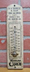 Koppers Coke Talmadge And Son Coal Wood East Haven Conn Old Ad Sign Thermometer