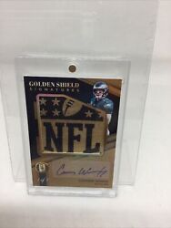 2018 Panini Golden Shield Signatures Carson Wentz 1/1 W Player Used Material
