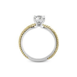 1.10ct H-si1 Round Natural Certified Diamonds 18k Vintage Style Side-stone Ring