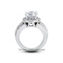 1.31ct G-vs2 Round Earth Mined Certified Diamonds 14k Gold Halo Side-stone Ring