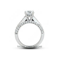 1.38 Ct F-vs2 Coupe Ronde Terre Extrait Certifiandeacute Diamants 14k Or Side-stone Ring