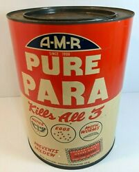 Large A-m-r Pure Para Empty 10 Tin Vintage Advertising Usa Moth Prevention Can
