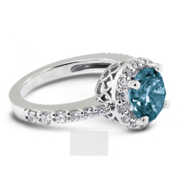1.33ct Blue Si1 Round Natural Certified Diamonds 14k Gold Halo Side-stone Ring