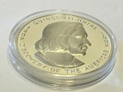 1492 - 1992 5 Onzas Troy 500 Years Discovery Of The Americas Silver .999 Proof