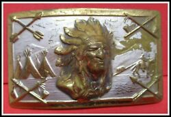 Rare 1940's Aged Brass Belt Buckle With Indian Chief Silver Wash Still Intact