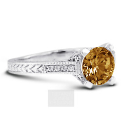 1.38ct Brown Si1 Round Natural Diamonds Plat Vintage Style Side-stone Ring